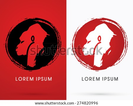Silhouette Face Gorilla,on grunge cycle background, sign ,logo, symbol, icon, graphic, vector. - stock vector