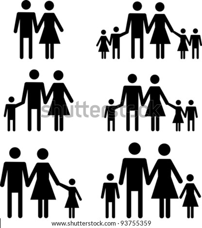 Silhouette family. Icon person, woman, man, kid, child, boy, girl, father, mother, parents symbol. People vector illustration. - stock vector