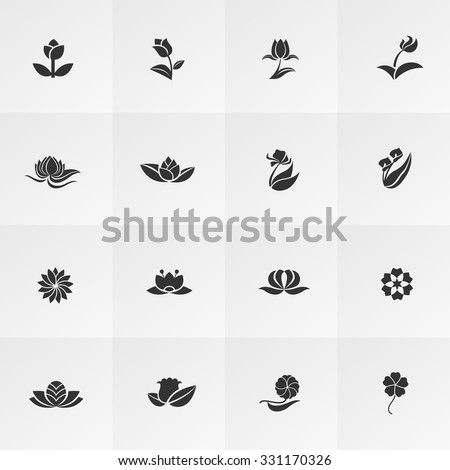 Silhouette fantasy logo shape flower such as lotus rose tulip sunflower daisy clover leaf and other icon collection set, create by vector