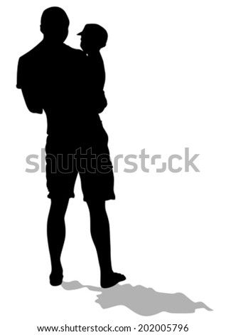 Silhouette father and son out for a walk - stock vector
