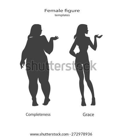 silhouette figure of a woman, thick and thin. Vector illustration - stock vector