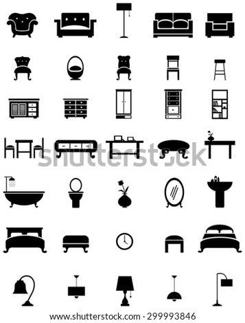 Silhouette flat home appliance furniture and interior decoration icon collection design set, create by vector - stock vector
