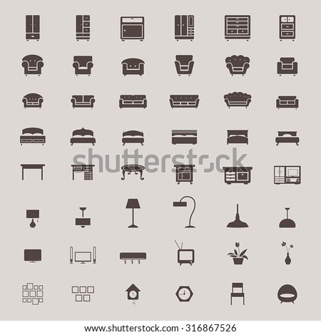 Silhouette flat home appliance furniture and interior decoration icon such as sofa chair table air condition heater lamp clock closet drawer shelf cupboard home theater television and bed set (vector) - stock vector