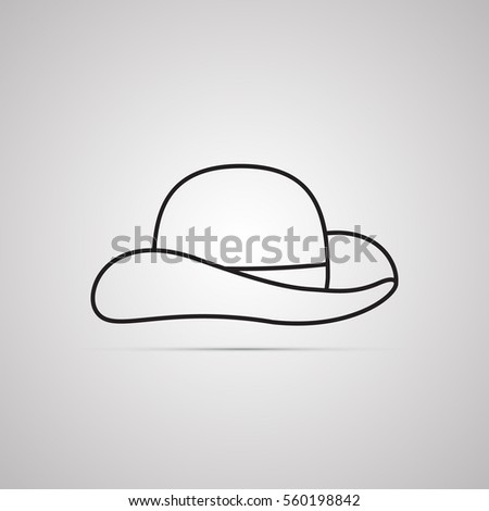 Silhouette flat icon, simple vector design with shadow. Hat with wide brim for illustration of clothes, accessory, hat atelier, hat store and shop. Symbol of headdress