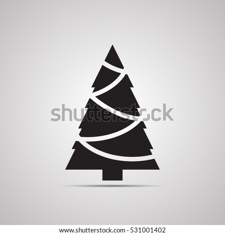 Silhouette flat icon, simple vector design with shadow. Symbol of fir-tree with Christmas tree garland for illustration Christmas, new Year, Christmas tree bazaar and fair
