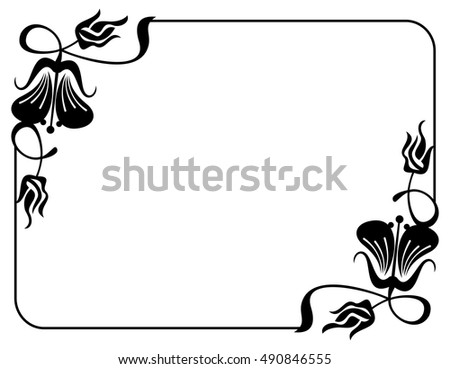 Silhouette flower frame design element banners stock vector design element for banners labels greeting cards and wedding invitations stopboris Images
