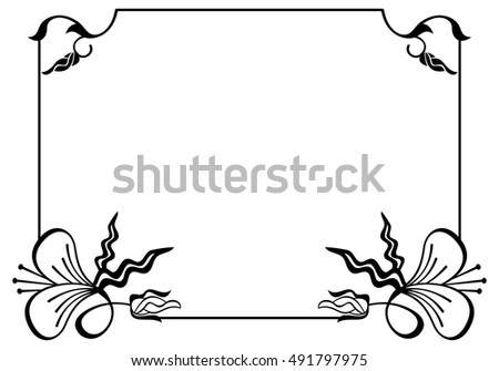Silhouette Flower Frame Simple Black White Stock Vector 491797975 ...