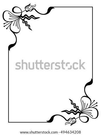Silhouette Flower Frame Simple Black White Stock Vector (2018 ...