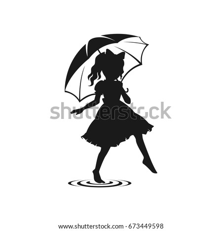 Fashion Girl With Umbrella Vactor
