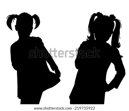 silhouette girls on white background vector - stock vector