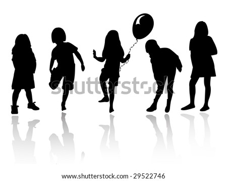 silhouette girls playing