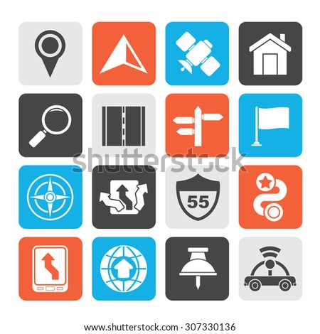 Silhouette Gps, navigation and road icons - vector icon set - stock vector