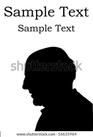 silhouette grandfather, background vector - stock vector