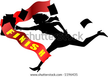 silhouette graphic of running business woman crossing the finishline - stock vector