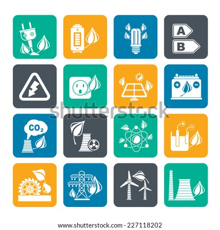 Silhouette Green energy and environment icons - vector icon set - stock vector