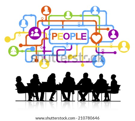 Silhouette Group of Business People Meeting - stock vector