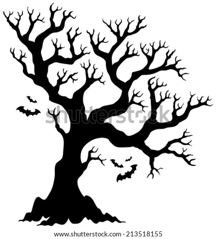 silhouette halloween tree with bats eps10 vector illustration - Black Halloween Tree