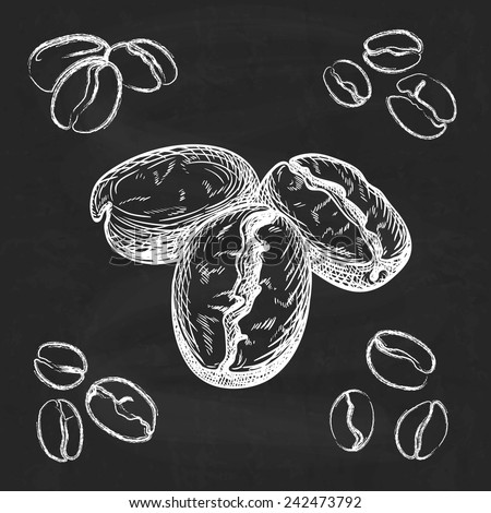 Silhouette hand drawn coffee beans on chalkboard  background - stock vector