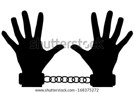 Silhouette handcuffs and hands isolated on white background. Vector EPS 10 illustration. - stock vector