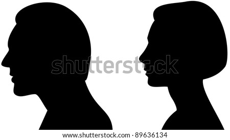 Silhouette head of a man and woman - stock vector