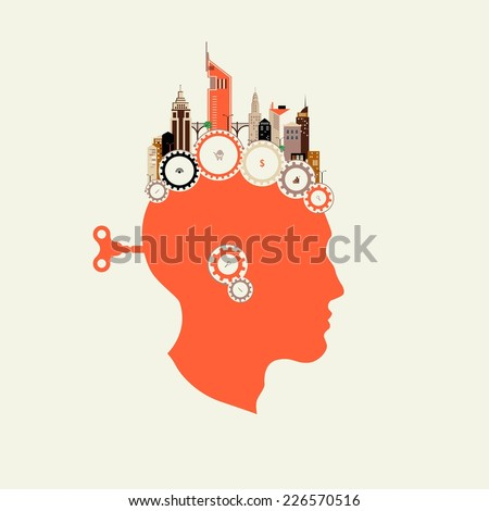 Silhouette head with the key men in the back. Brain Starts key. Including the brain. Included in the work. Abstract houses on the gears. Flat design. Small business in the city. City infographics - stock vector