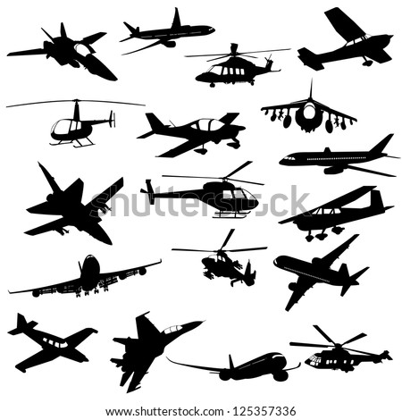 Silhouette helicopter fighter plane - stock vector