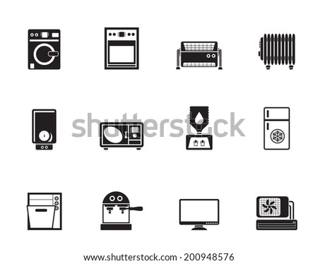 Silhouette Home electronics and equipment icons - vector icon set - stock vector