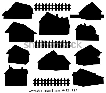 silhouette house - stock vector