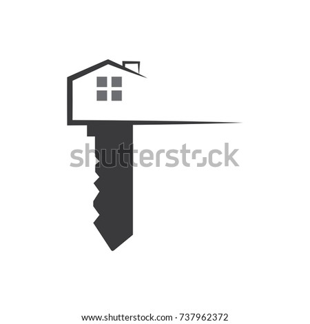 Silhouette house key logo vector house stock vector 737962372 silhouette house key logo vector house with key logo template pronofoot35fo Images