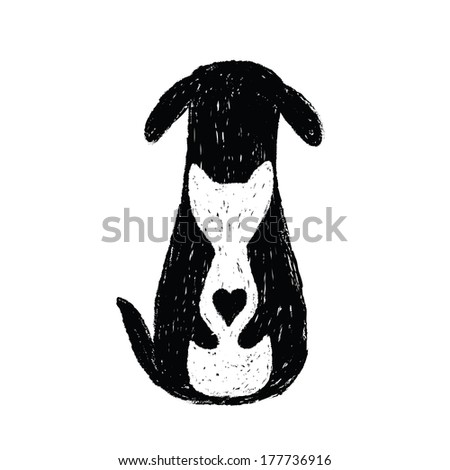 Silhouette icon of cat and dog friendship - stock vector