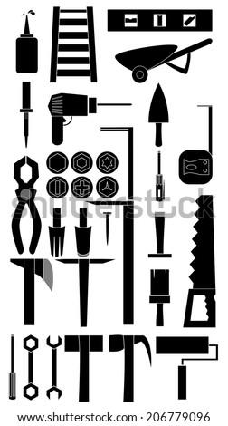 Silhouette icon set of DIY tool vector - stock vector