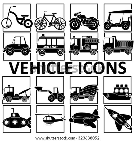 silhouette icons vehicle types in the quadrangle. In vector style. - stock vector