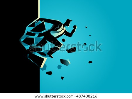 Silhouette illustration of a businessman jump breaking the wall. Business, breakthrough, success, challenge concept