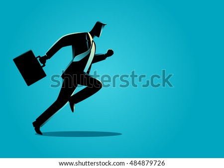 Silhouette illustration of a businessman running with briefcase, business, energetic, dynamic concept