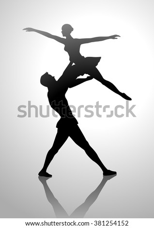 Silhouette illustration of a couple dancing ballet - stock vector