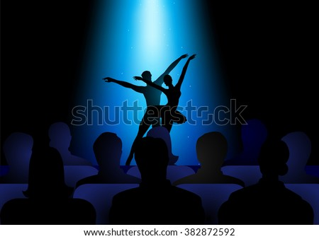 Silhouette illustration of a couple dancing ballet under blue spotlight performing on stage - stock vector