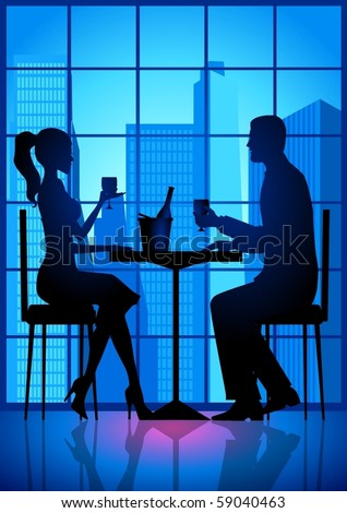 Silhouette illustration of a couple having a date - stock vector