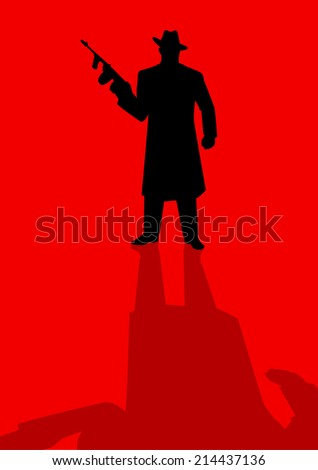 Silhouette illustration of a male figure holding a tom gun - stock vector