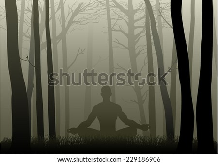 Silhouette illustration of a man figure meditating in the misty woods  - stock vector