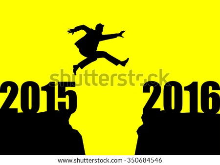 Silhouette illustration of a man jumps from 2015 to 2016 - stock vector