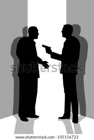 Silhouette illustration of a man threatening someone with a gun
