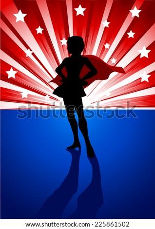 Silhouette illustration of a super heroine standing in front of light burst  - stock vector