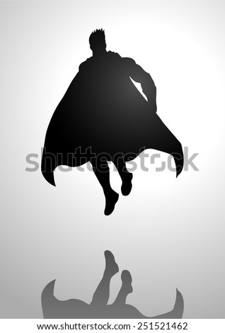 Silhouette illustration of a superhero in flying pose - stock vector