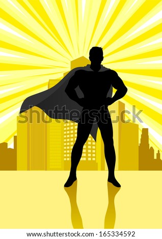 Silhouette illustration of a superhero standing in front of cityscape - stock vector