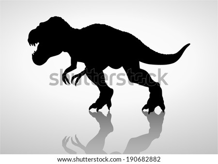 Silhouette illustration of a tyrannosaurus rex - stock vector