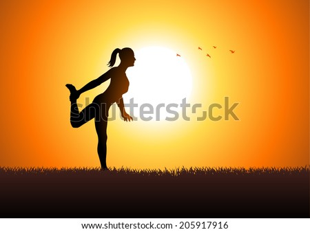 Silhouette illustration of a woman stretching her leg - stock vector