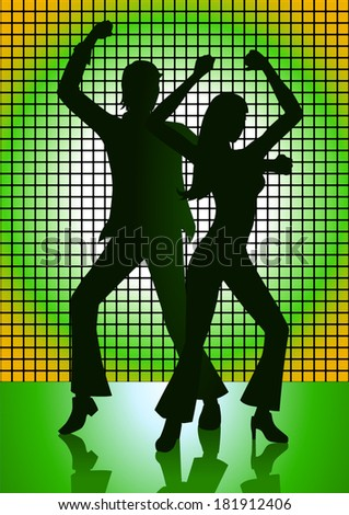 Silhouette Illustration of couple dancing with green light as the background - stock vector