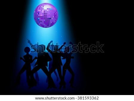 Silhouette Illustration of couples disco dancing on the floor - stock vector