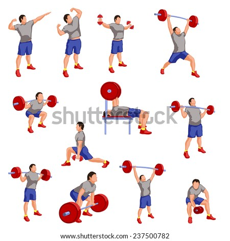 silhouette illustration of different male athletes wivh are working out - stock vector