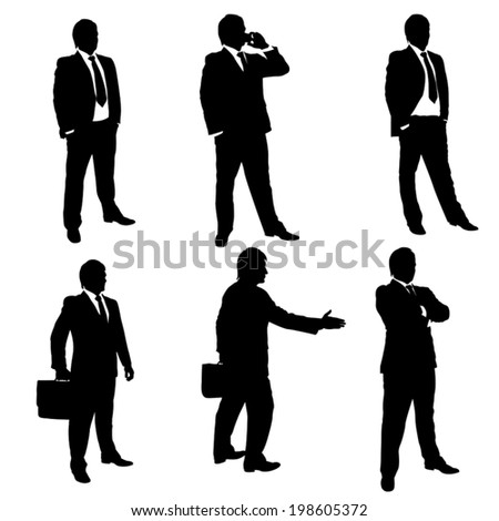 silhouette illustration of different male figures of businessmen - stock vector